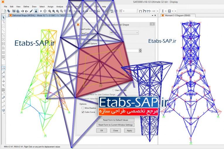 طراحی دکل - دکل مهاری- دکل خود ایستا - طراحی دکل مخابراتی و دکل برق - مدلسازی، تحلیل و طراحی دکل در SAP2000