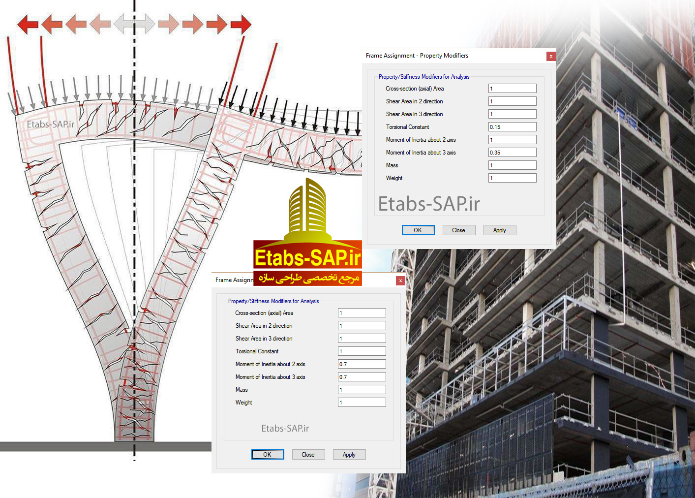 ضریب ترک خوردگی تیر و ستون در Etabs ساختمان بتنی سازه بتنی در Etabs