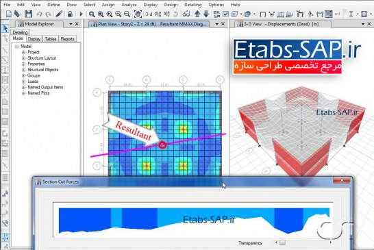 گزینه ی Section Cut در Etabs