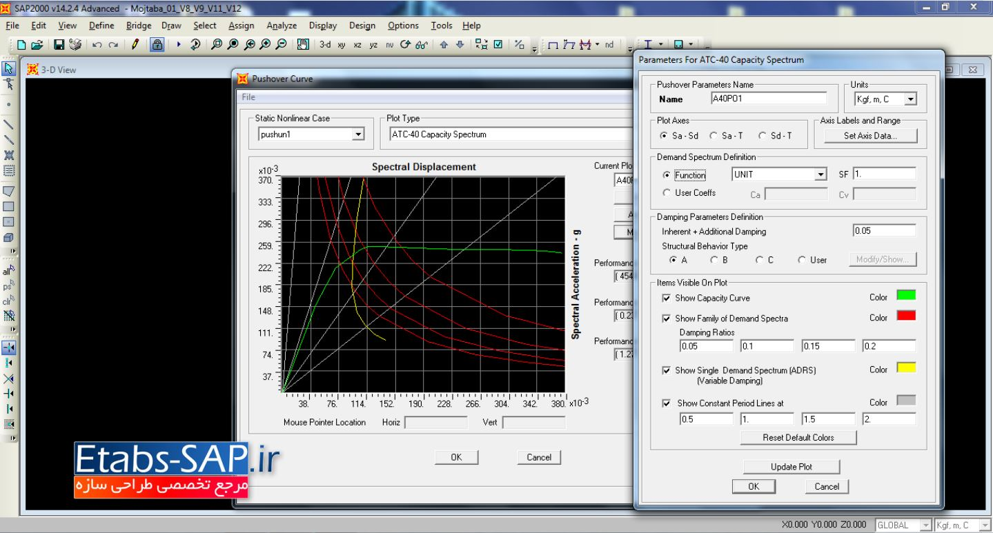 تحلیل پوش اور در نرم افزار SAP2000